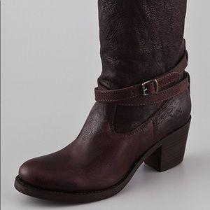 Frye Jane Strappy Boots - Dark Brown